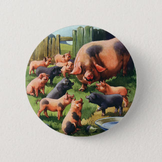Vintage Farm Animals, Pig with Cute Baby Piglets 6 Cm Round Badge