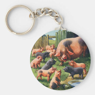 Vintage Farm Animals, Pig with Cute Baby Piglets Basic Round Button Key Ring
