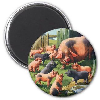 Vintage Farm Animals, Pigs, Sow with Baby Piglets 6 Cm Round Magnet