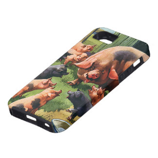 Vintage Farm Animals, Pigs, Sow with Baby Piglets iPhone 5 Covers