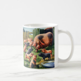 Vintage Farm Animals, Pigs, Sow with Baby Piglets Mugs