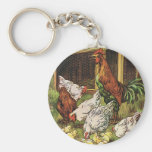 Vintage Farm Animals, Rooster, Hens, Chickens Basic Round Button Key Ring