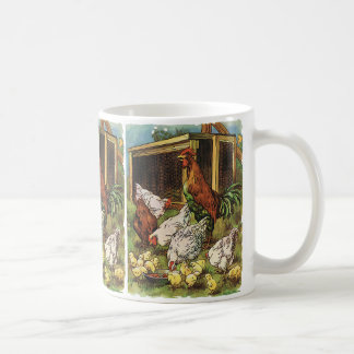 Vintage Farm Animals, Rooster, Hens, Chickens Coffee Mug