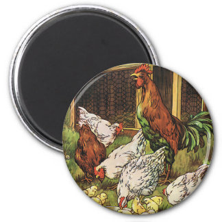 Vintage Farm Animals Rooster Hens Chickens Fridge Magnet