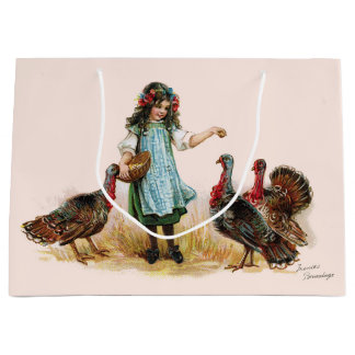 Vintage Farm Girl & Turkeys Gift Bag