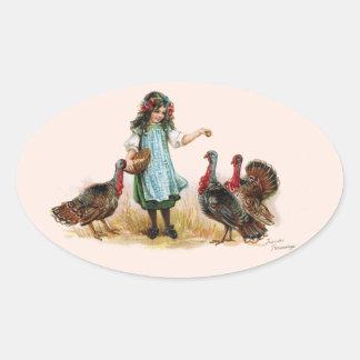 Vintage Farm Girl & Turkeys Oval Sticker