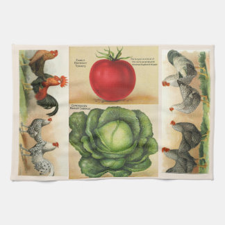 Vintage farm illustrations: cozy country style tea towel