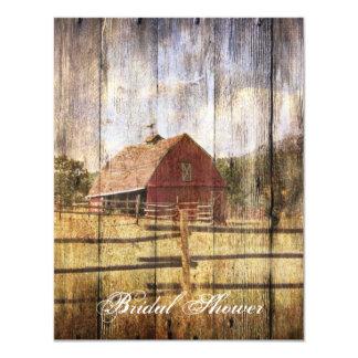 """vintage farm redbarn western country bridal shower 4.25"""" x 5.5"""" invitation card"""