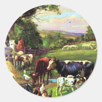 Vintage Farm Round Stickers