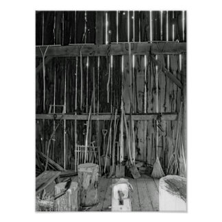 Vintage Farm Tools  Black And White Photograph Poster