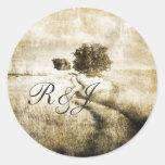 vintage farm trees western country wedding round sticker