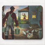 Vintage Farmer Working on the Farm Mousepads