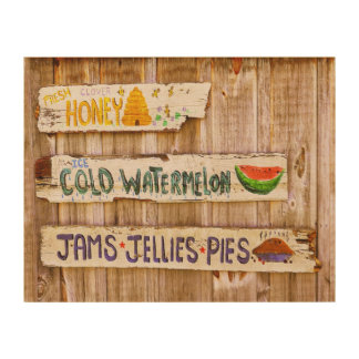 Vintage Farmer's Market Wooden Wall Art Wood Prints