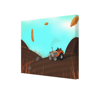 Vintage Farming Tractor Stretched Canvas Print