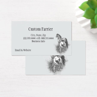 Vintage Farrier Horse Shoeing Black White Art Business Card