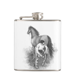 Vintage Farrier Horse Shoeing Black White Art Hip Flask
