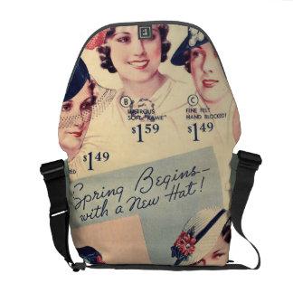 Vintage Fashion 1936 Hat Ad Messenger Bag