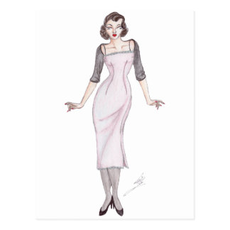 Vintage fashion art - 1950s pink wiggle dress postcard