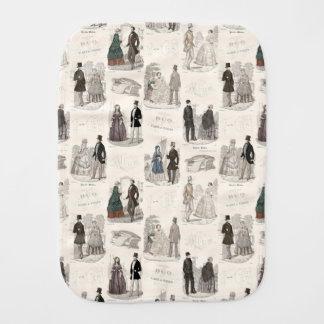 Vintage Fashion Biedermeier Elegant Antique Print Burp Cloth