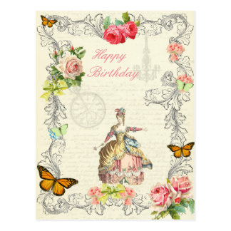 Vintage fashion birthday postcard wirh roses