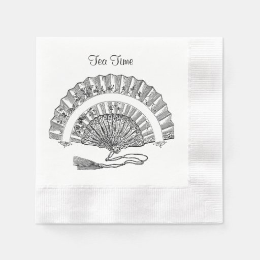 Vintage Fashion Fan Tea Time or Custom Party Words Disposable Napkins
