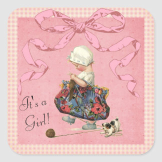 Vintage Fashion Girl Pink Ribbon Baby Shower Square Sticker