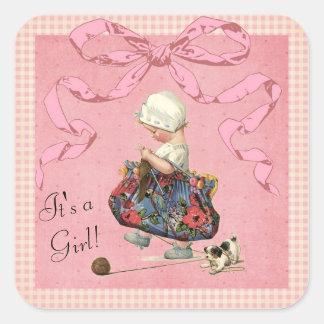 Vintage Fashion Girl Pink Ribbon Baby Shower Square Sticker