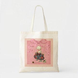 Vintage Fashion Girl Pink Ribbon Budget Tote Bag