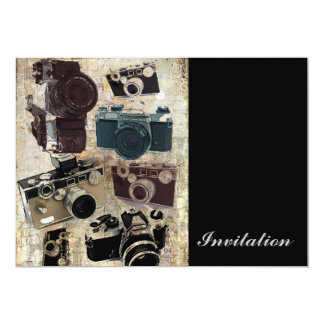 Vintage  fashion Grunge Retro Camera 13 Cm X 18 Cm Invitation Card