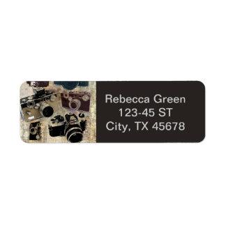 Vintage  fashion Grunge Retro Camera Return Address Label