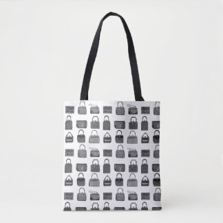 Vintage fashion handbag pattern tote bag