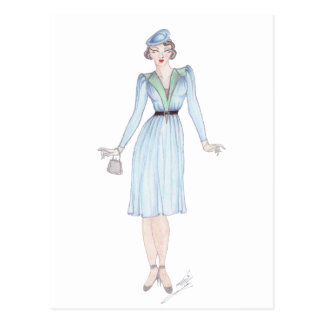 Vintage Fashion Illustration - 1940s day dress Postcard