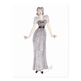 Vintage Fashion Ilustration - 1940's dress Postcard