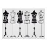Vintage fashion mannequins silhouettes poster