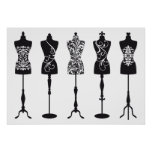 Vintage fashion mannequins silhouettes posters