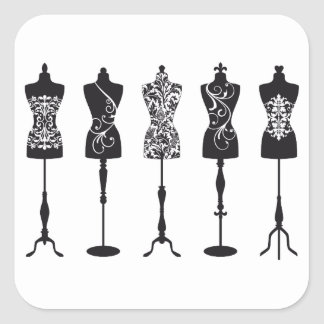 Vintage fashion mannequins silhouettes square sticker