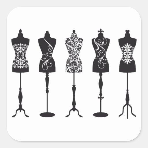 Vintage fashion mannequins silhouettes stickers