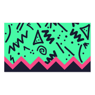 Vintage Fashion Trend Neon Colorful Shapes Pattern Business Card Template