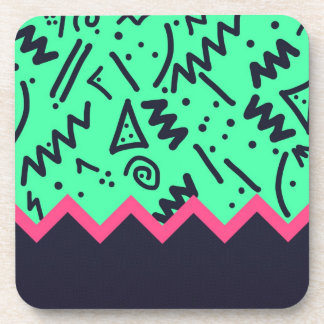 Vintage Fashion Trend Neon Colorful Shapes Pattern Coaster