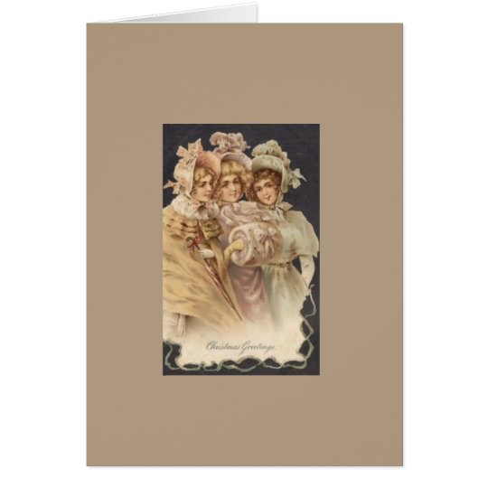 Vintage Fashion Victorian Christmas Holiday Card