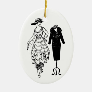Vintage Fashion Woman's Black Dress and Mannequin Christmas Ornament