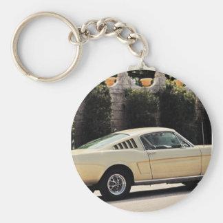 Vintage Fastback 1965 Mustang 2+2 Honey Gold Basic Round Button Key Ring