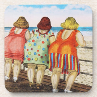 Vintage Fat Bottomed Girls at Beach Drink Coasters