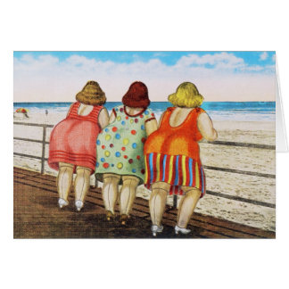 Vintage Fat Bottomed Girls at Beach Greeting Card