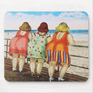 Vintage Fat Bottomed Girls at Beach Mouse Pad