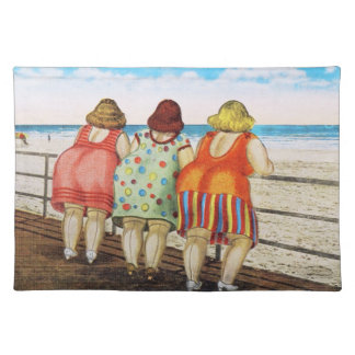 Vintage Fat Bottomed Girls at Beach Placemat