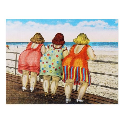 Vintage Fat Bottomed Girls at Beach Post Card