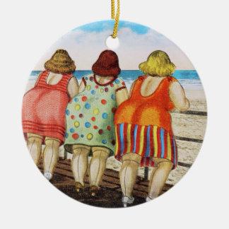 Vintage Fat Bottomed Girls at Beach Round Ceramic Decoration