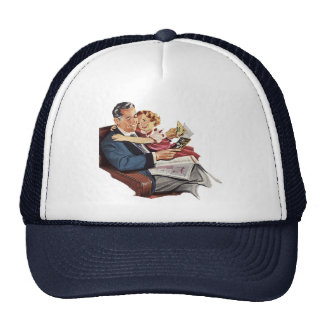 Vintage Father and Daughter, Happy Father's Day! Mesh Hat