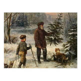 Vintage - Father and Son Picking Christmas Tree Postcard